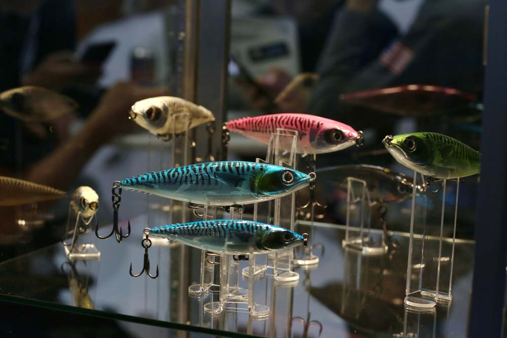 A selection of hard lures on display at ICAST