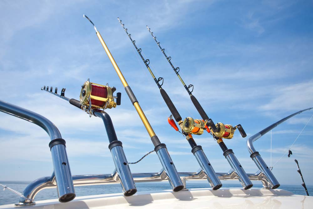 Fishing rods are ready for action on an offshore saltwater fishing trip